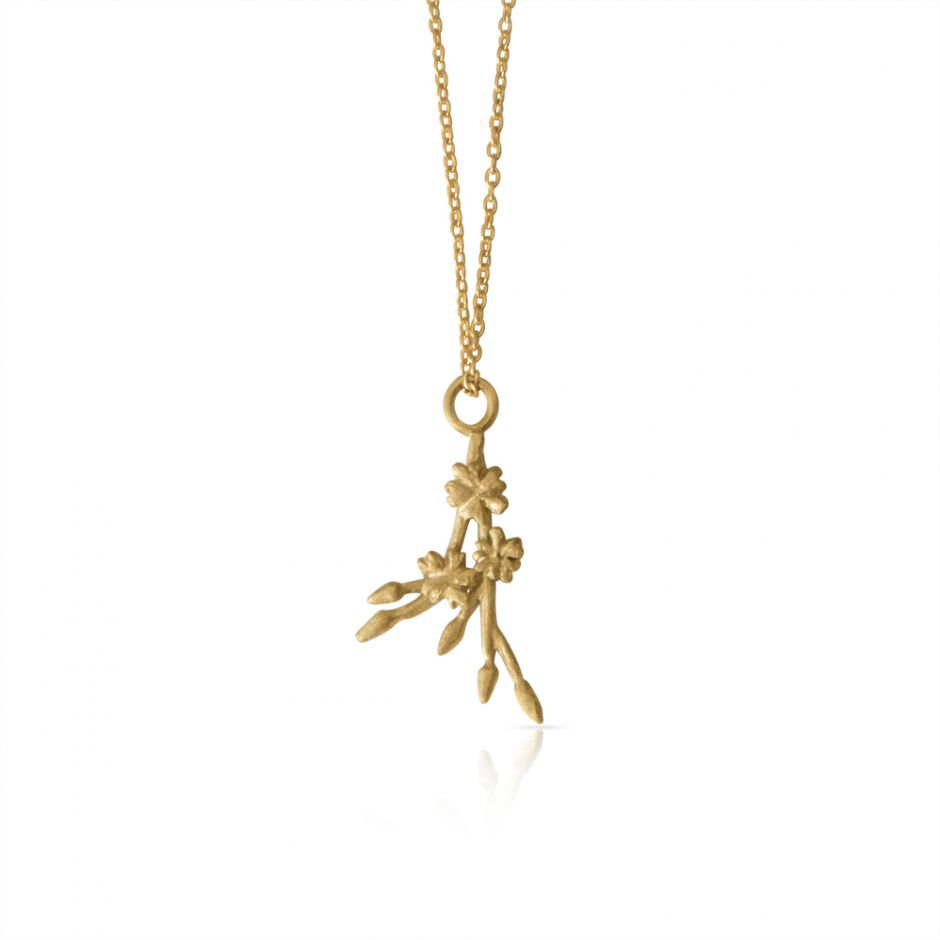 Gold Vermeil Licensed to Charm Cherry Blossom Sprig Necklace Set