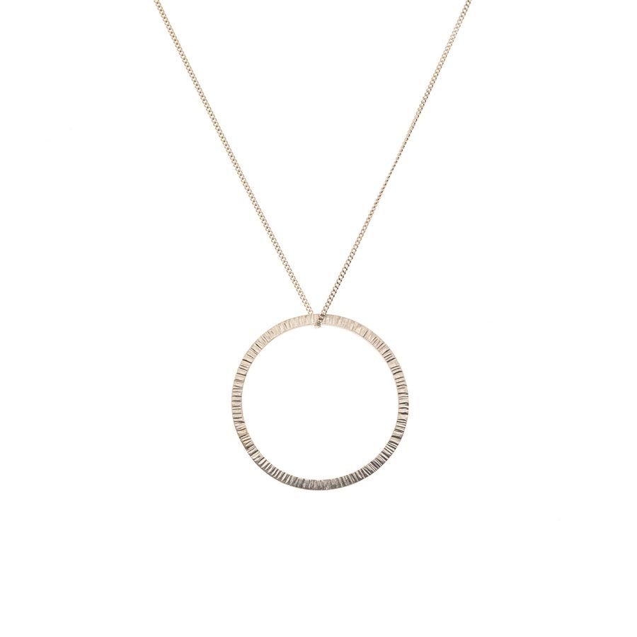 Sterling Silver High Line Circle Necklace