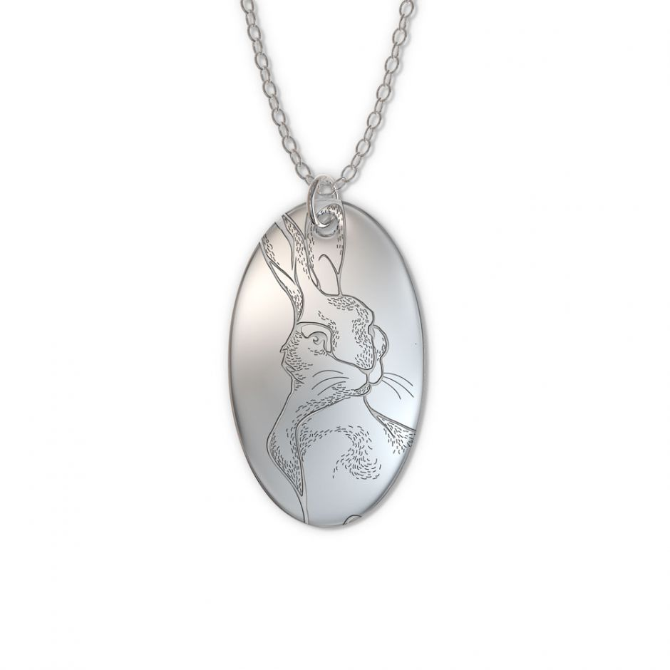 Watership Down - Sterling Silver Oval Clover Tag Necklace Set