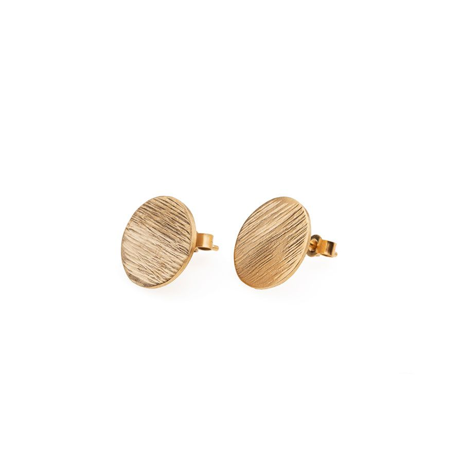 9ct Gold High Line Disc Stud Earrings