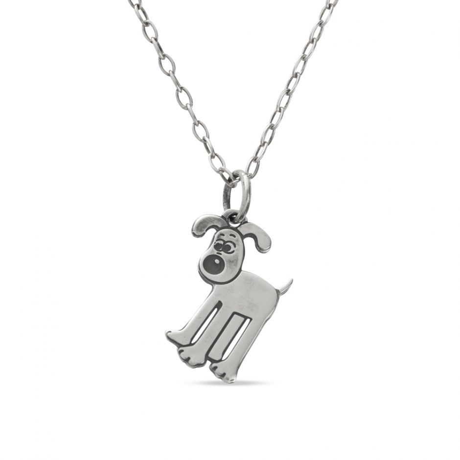Sterling Silver Etched Gromit Necklace
