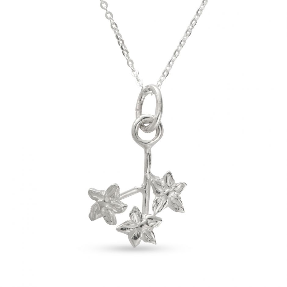 Licensed to Charm - Sterling Silver Forget Me Not Twig Necklace Set
