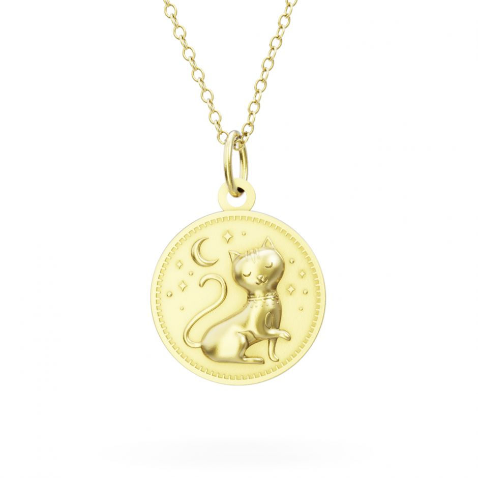 Licensed to Charm - Gold Vermeil Enchanted Animals Cat Necklace Set