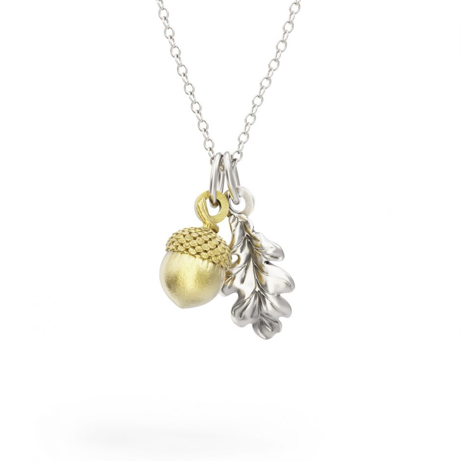 Watership Down - Sterling Silver Oak Leaf & Gold Vermeil Acorn Necklace Set