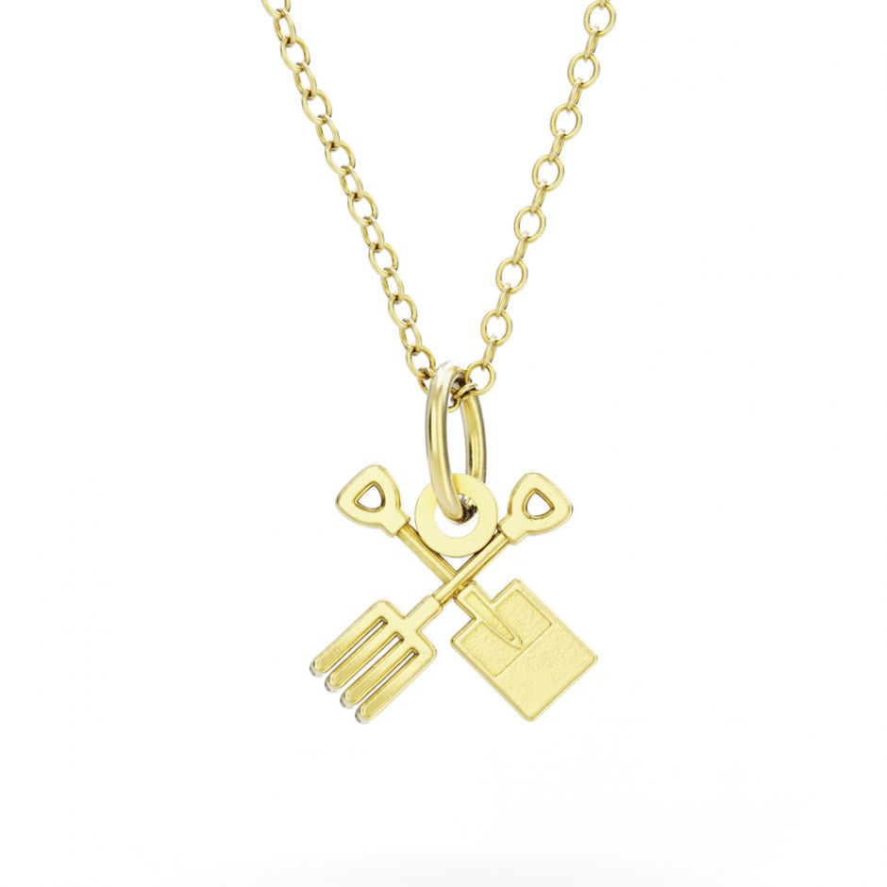 Shaun The Sheep - Gold Vermeil Fork & Spade Necklace Set