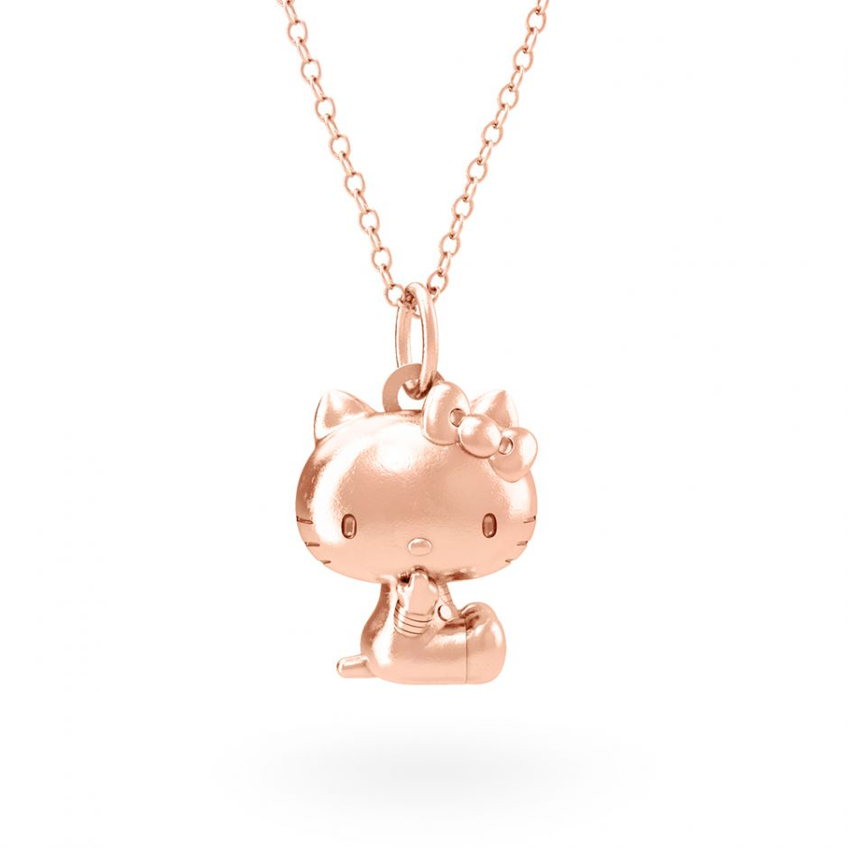 Hello Kitty 18ct Rose Gold Sitting Kitty Necklace Set