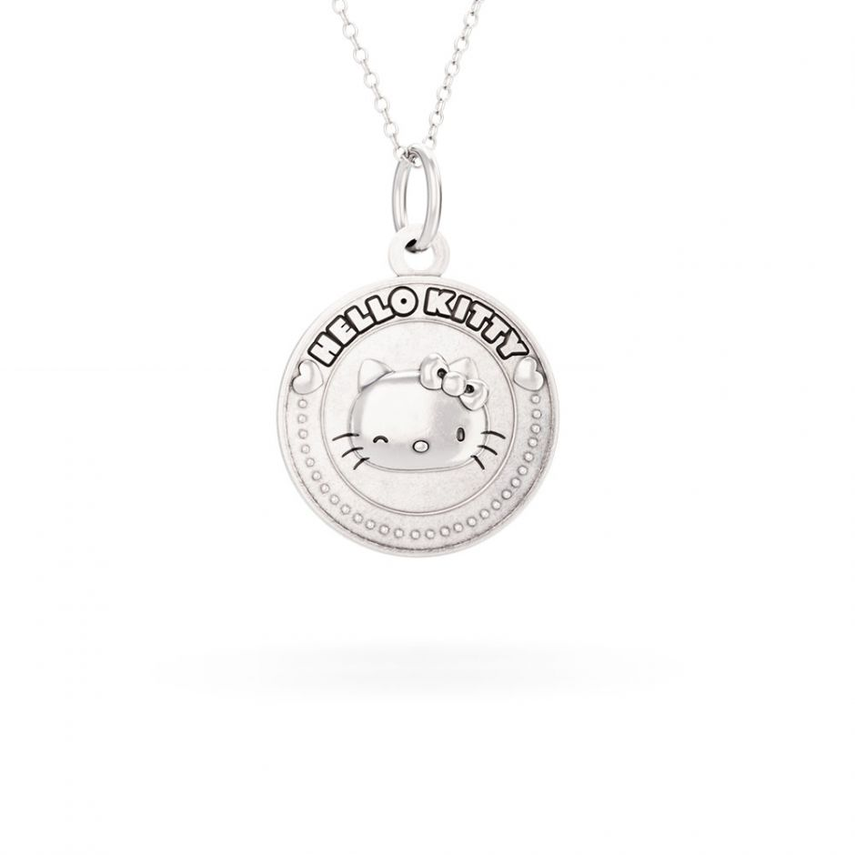 Hello Kitty - Sterling Silver Winking Kitty Coin Necklace
