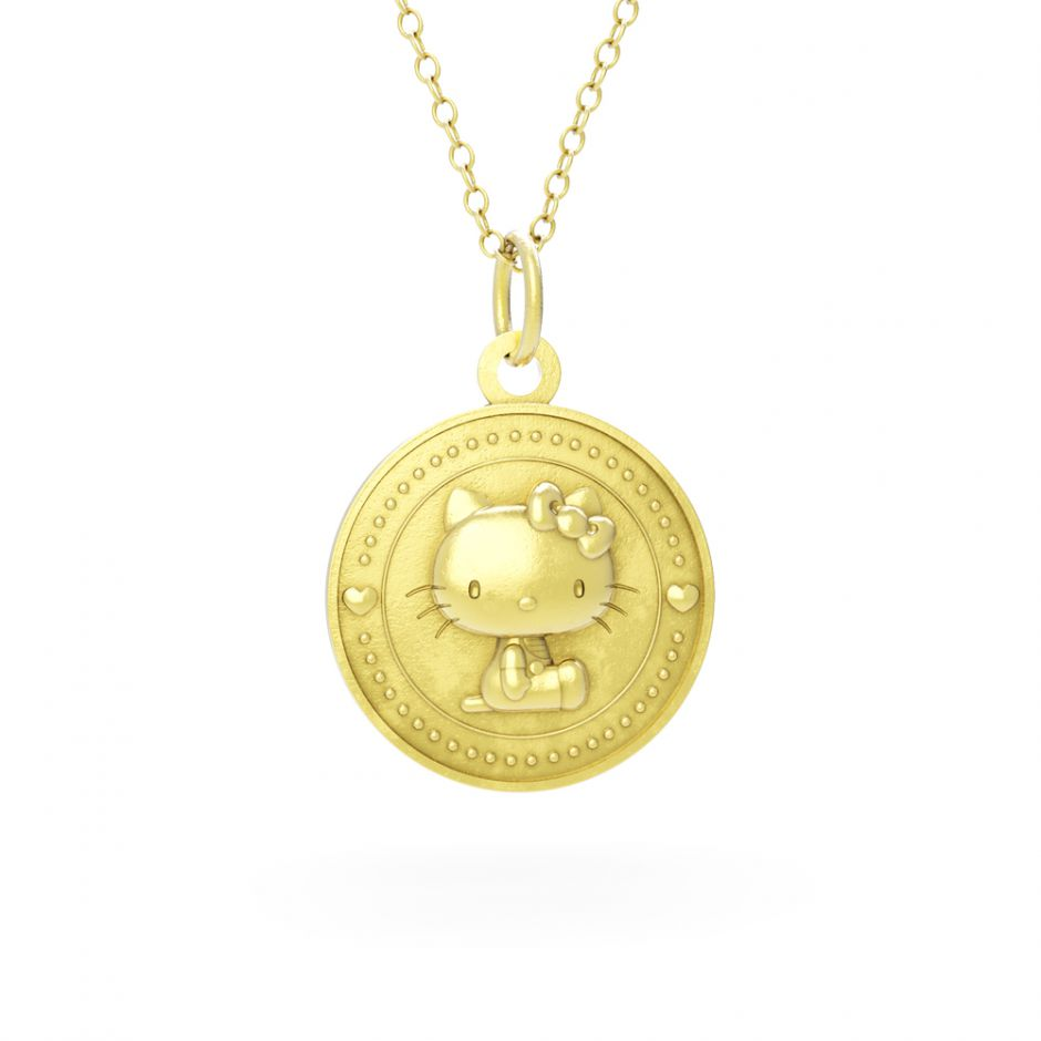 LIMITED EDITION Hello Kitty - 18ct Gold Vermeil Kitty Coin Necklace Set