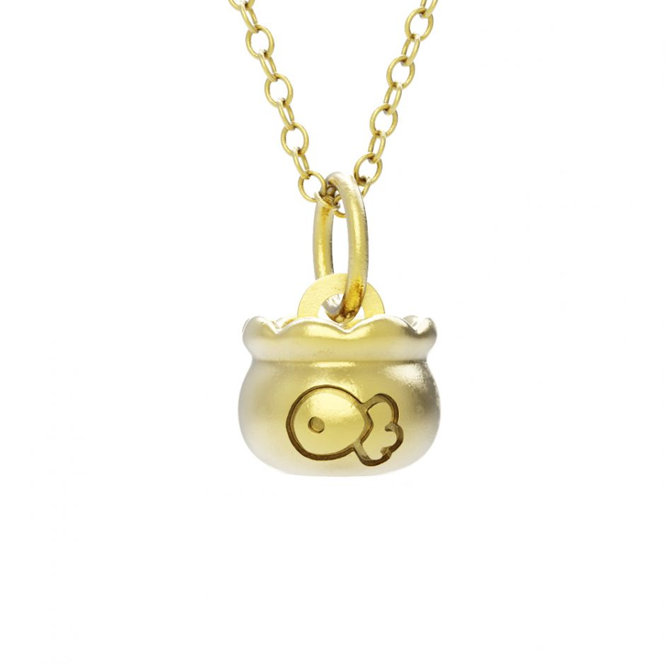 Hello Kitty - 18ct Gold Vermeil Fish Bowl Necklace Set