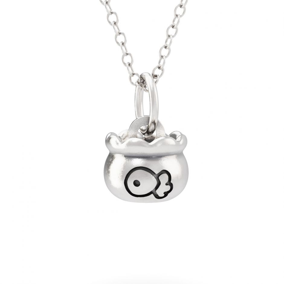 Hello Kitty - Sterling Silver Fish Bowl Necklace Set