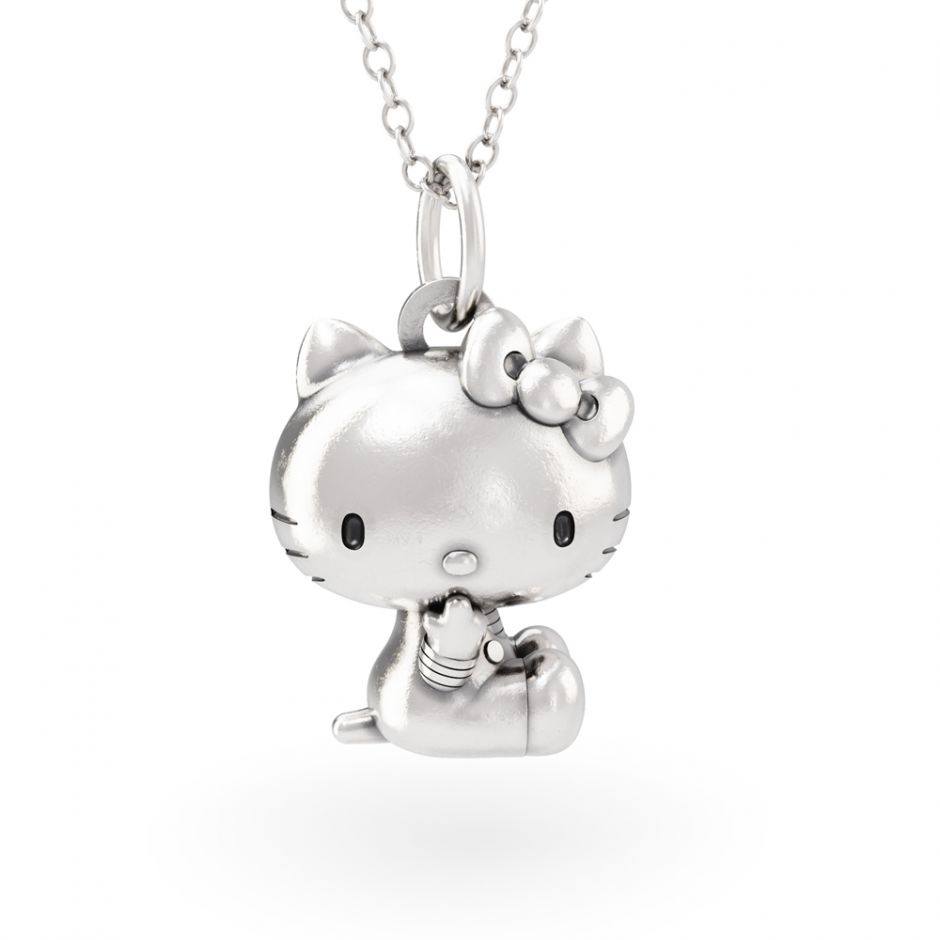 Hello Kitty - Sterling Silver Sitting Kitty Necklace Set