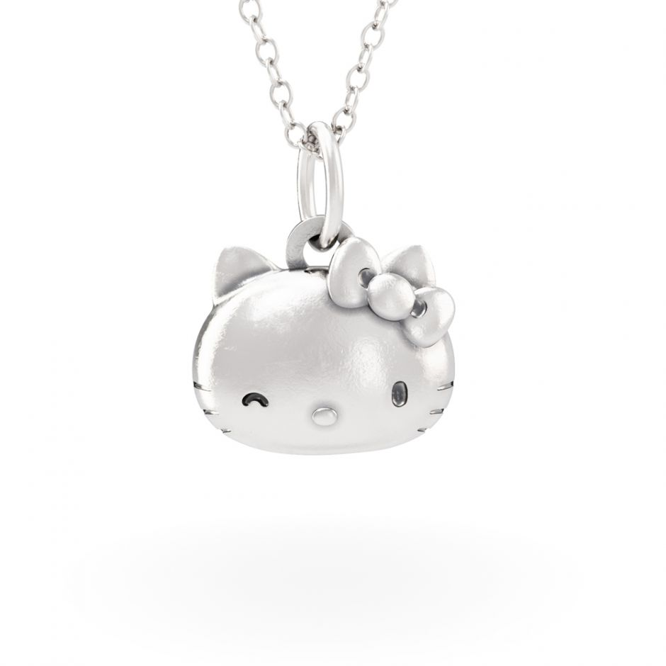 Hello Kitty - Sterling Silver Kitty Head Necklace Set