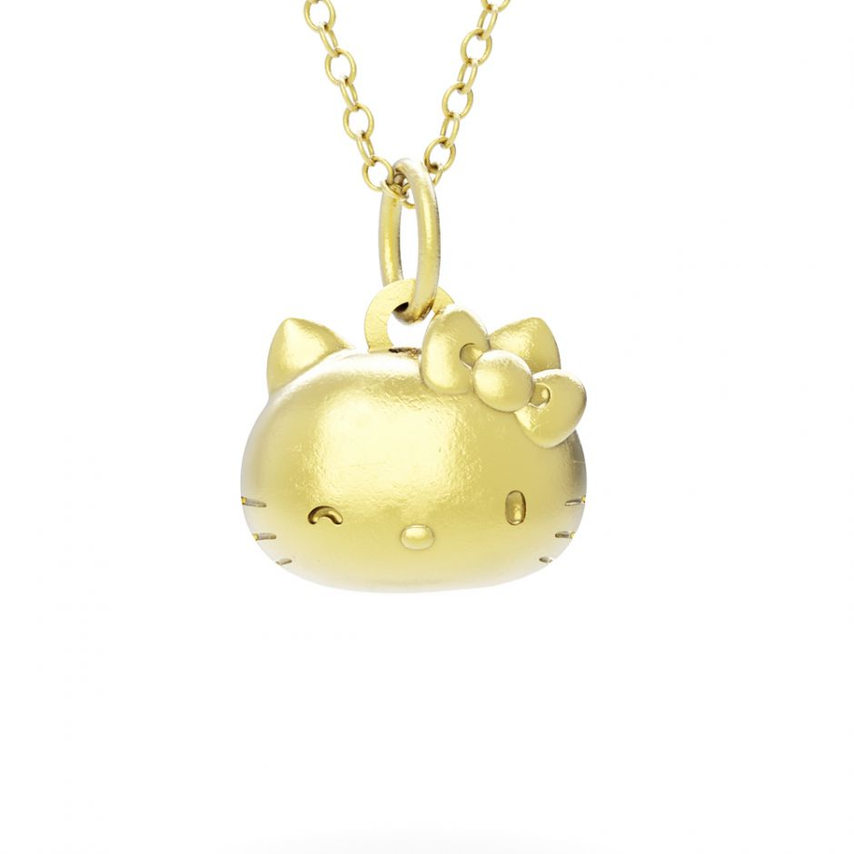 Hello Kitty - 18ct Gold Vermeil Kitty Head Necklace Set
