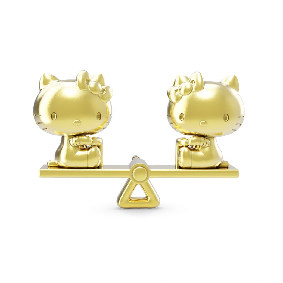 Hello Kitty - 18ct Gold Vermeil See Saw Brooch