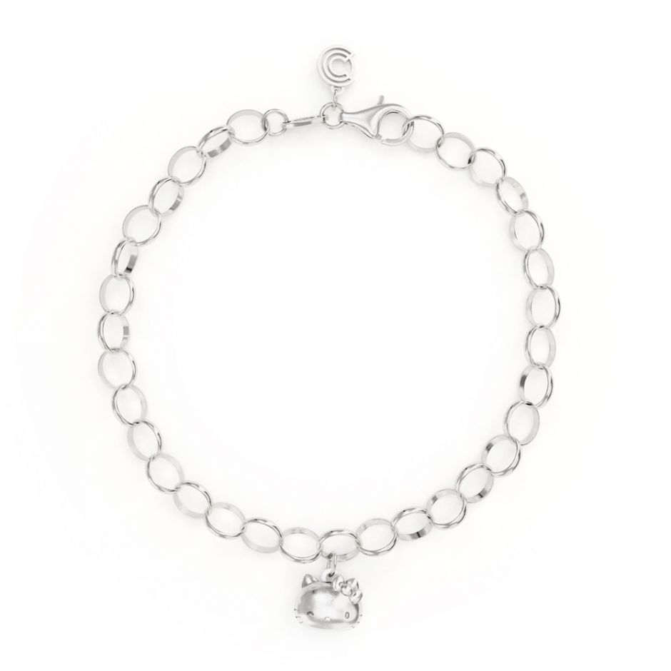 Hello Kitty - Sterling Silver Single Charm Bracelet with Kitty Head