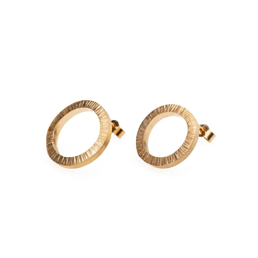 9ct Gold High Line Circle Stud Earrings