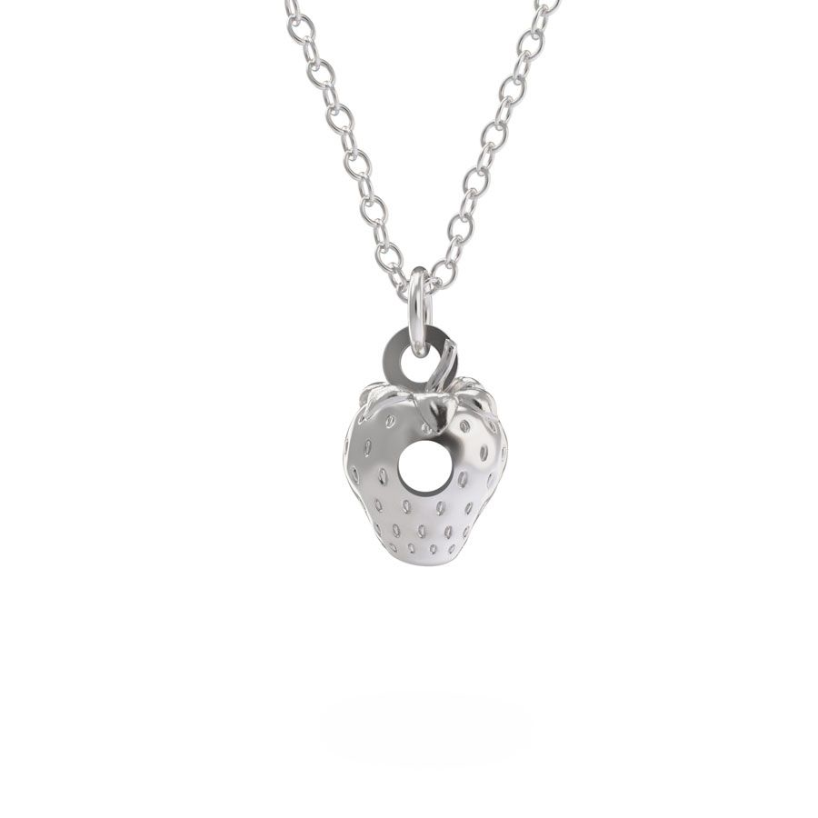 Sterling Silver Very Hungry Caterpillar Strawberry Necklace Set