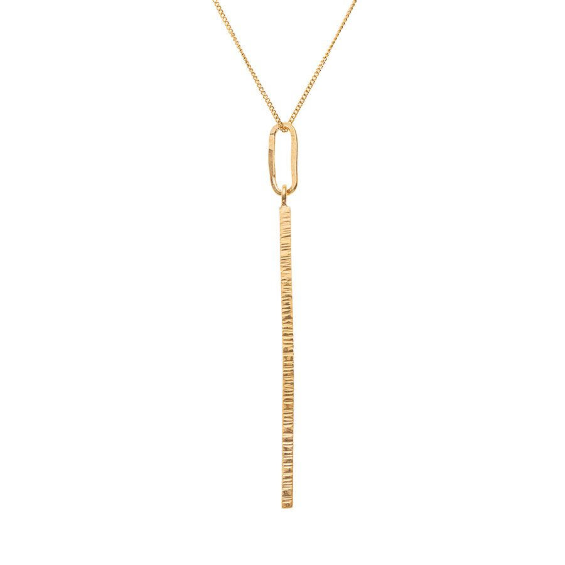 9ct Gold Vermeil High Line Vertical Bar Necklace